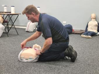Phil Wragg demonstrating CPR