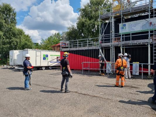 Work at Height training delegates practising skills on a training rig