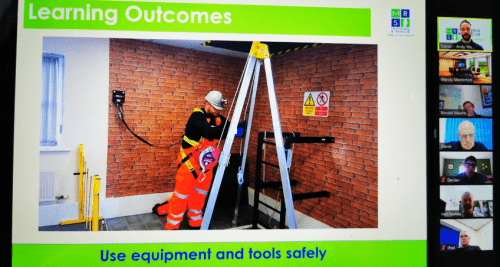 An instructor teaching a live online MRS Training & Rescue course