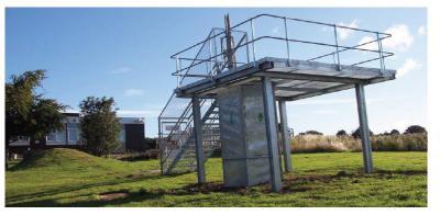 Guard rails around a raised platform