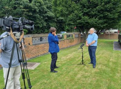 John Mowbray being interviewed by Tony Roe outside MRS Training & Rescue