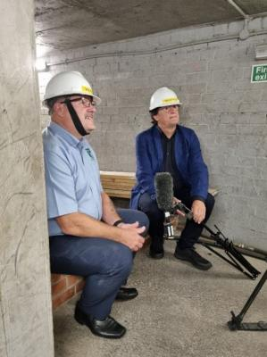 In the confined space training tunnels being interviewed by Tony Roe