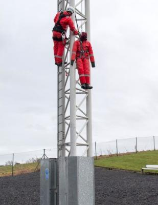 Working at Height exercise with a manikin for mock emergency training