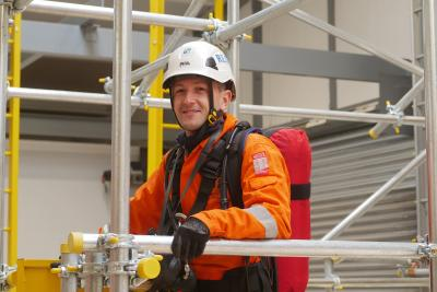 A delegate on the work at height training at MRS Training & Rescue Inverkeithing