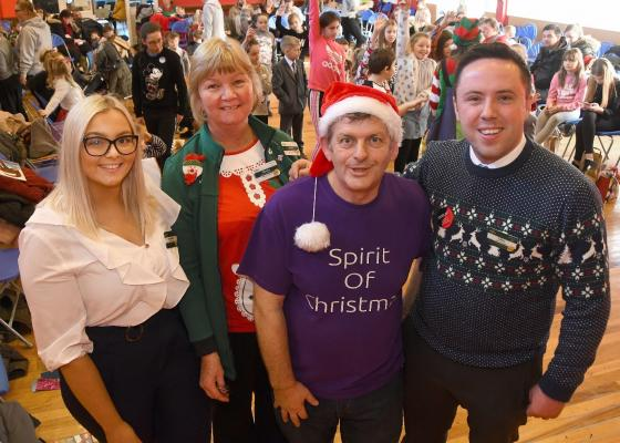 Ronnie and some of his volunteer helpers at last year's Christmas parties
