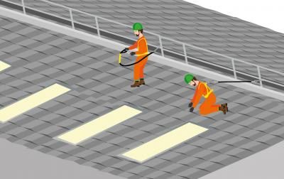 An illustration showing two men working on a roof with safety equipment