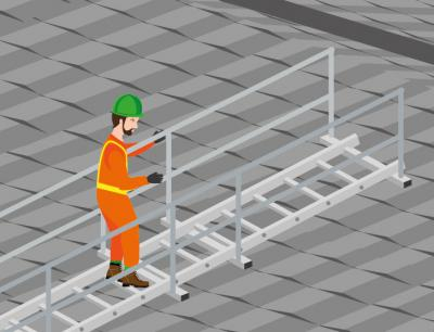 An illustration showing a man using roof staging