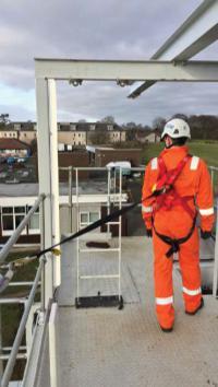 A man on a raised platform wearing a work restraint